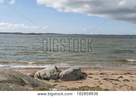 Sunny beach in springtime, nature in Sweden