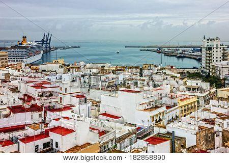 Cadiz, Spain. Panirama of city and sea port