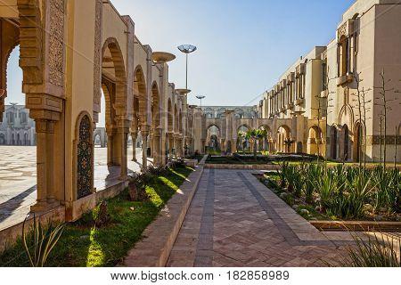 Casablanca city, Morocco. Mosque Hassan II building