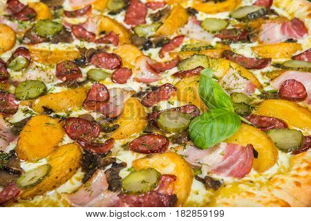 Pizza Country, With Rosemary And Spices On A Light Wooden Background. Italian Pizza On A Background