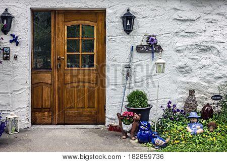 Decoratated hotel door in village Olden Norway