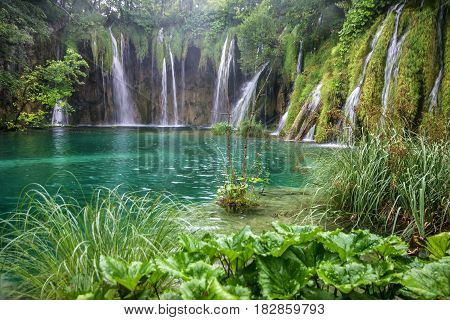 Croatia Waterfall of Plitvice lake natural travel background national park