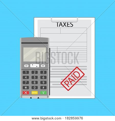 Taxation earning flat tax paid with credit card machine vector illustration