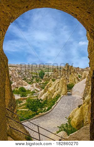 Goreme, Turkey. Open air museum, Cappadocia Mountain landscape