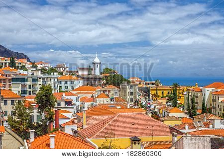 Madeira island, Portugal. Seafront houses of Funchal.