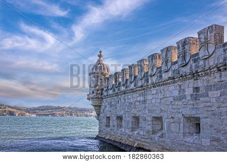 Belem tower architecture view in Lisbon, Portugal