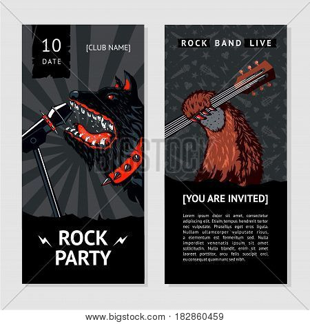 Party invitation. Music flyer template with dog.