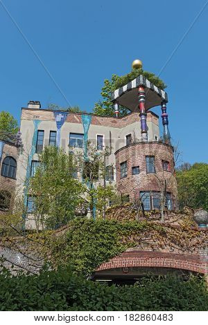 BAD SODEN, GERMANY-APRIL 21, 2017: The view of Hundertwasser house