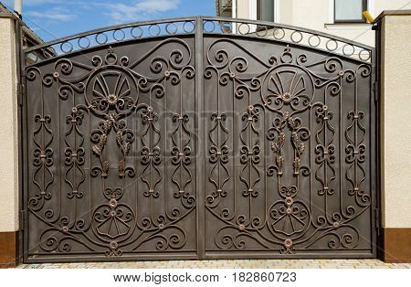 Modern ornament forged decorative iron gates decor