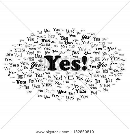 Answer Yes. Typography word cloud illustration. Vector isolated on white