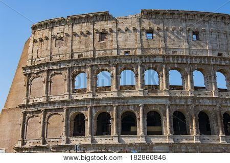 Colosseum - the main tourist attractions of Rome Italy. Ancient Rome Ruins of Roman Civilization