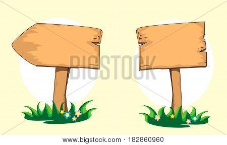 Wooden signpost. Cartoon illustration Vector illustration summer spring