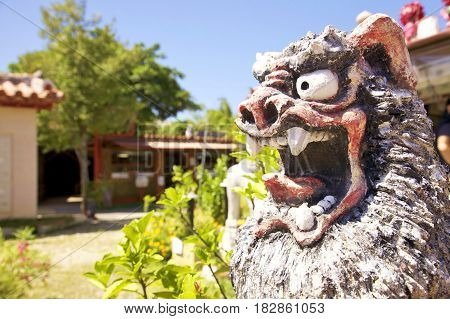 Stone lion in a temple in china