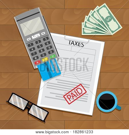Payment tax with terminal card. Graphic budget income and tax. Vector illustration