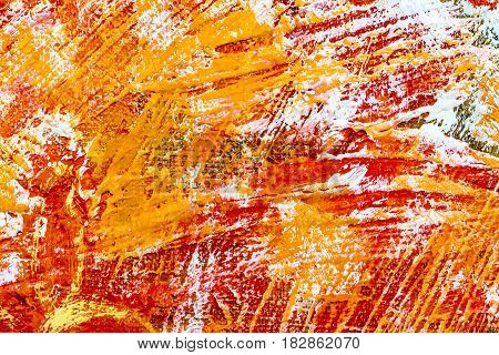 Abstract Hand Painted Background With Vibrant Red And Orange Brush Strokes