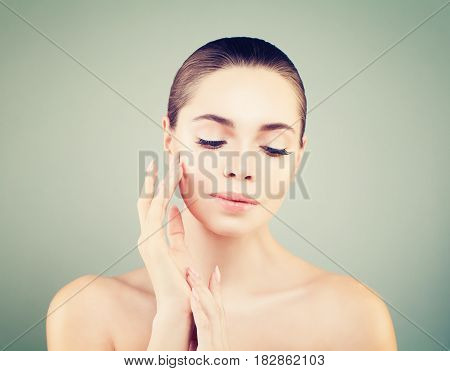 Beauty Spa Model Portrait with closed eyes. Skincare