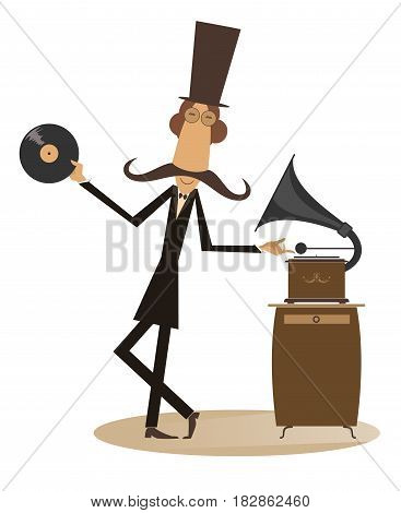 Funny mustached man in the top hat is listening music on the vintage record player
