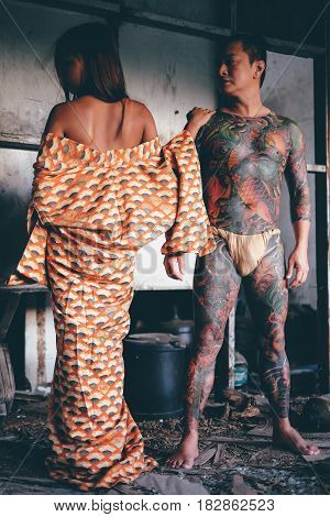 Skin warrior full body art tatto concept of secret love