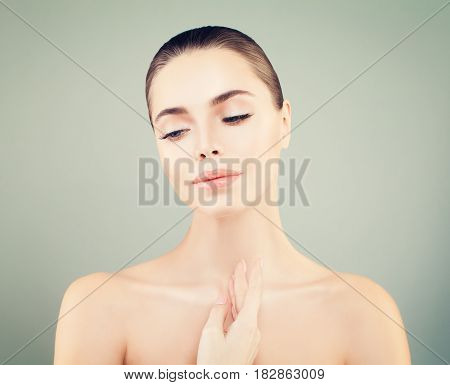 Beauty Face of Young Woman. Skin Care Concept. Closeup Portrait
