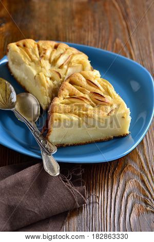 Semolina pie with apples, Serbian koh, vertical