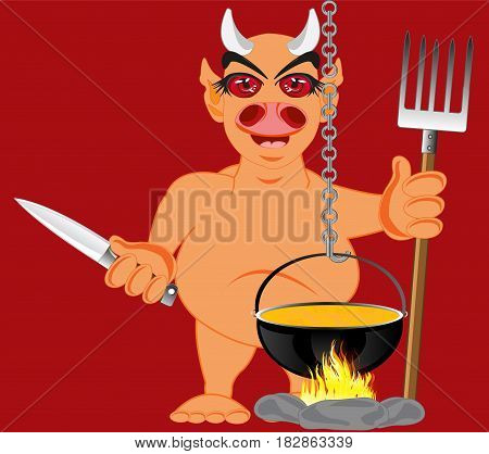 Cartoon line beside caldron with knife and pitchfork in hand