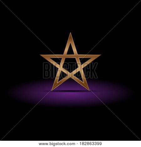 Luxury gold pentagram on purple shadow, vector illustration