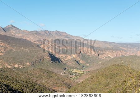 Farms in the Huisrivier Pass between Calitzdorp and Ladismith as seen from the Matjiesvlei Pass