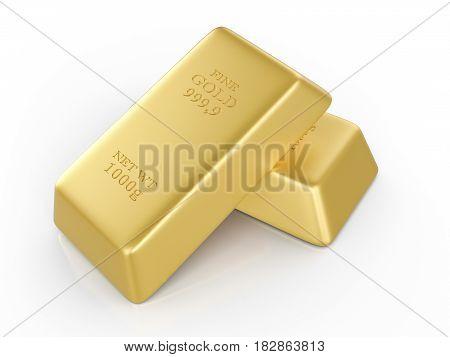 Gold bars on a white background. 3D illustration.