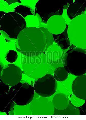 Shiny Green Sphere Background 3D Illustration