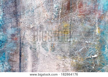 Textured Hand Painted Canvas With Brush Strokes On Grey Background