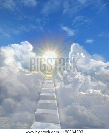 The ladder in the blue skies is among the clouds up to the warm radiant sun. Concept of freedom of spirit love religious symbol of paradise