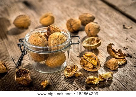 Wallnuts On Vintage Wooden Table