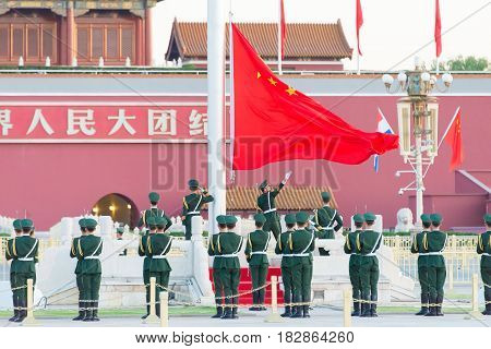 Beijing, China - Oct 13 2015: Flag Raising Ceremony Of Tiananmen Square. A Famous Historic Site In B
