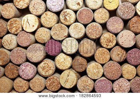 closeup of a wall of used wine corks