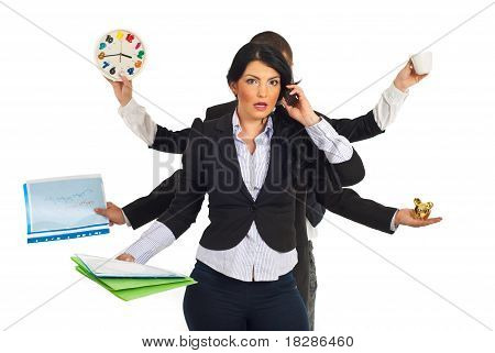 Busy Stressed Business Woman