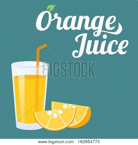 Vector orange juice and orange slice, flat style