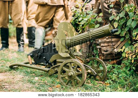 Dyatlovichi, Belarus - October 1, 2016: Maxim's Machine Gun Model 1910 30 On A Wheeled Vladimirov's Mount. PM M1910 Was A Heavy Machine Gun Used By The Imperial Russian Army During WW I And Red Army During Russian Civil War And World War II