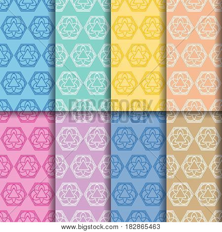 Ornament seamless patterns. Colored set. Vector illustration