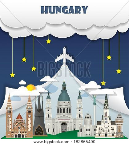 Hungary Travel Background Landmark Global Travel And Journey Infographic Vector Design Template. Ill