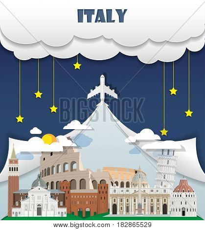 Italy Travel Background Landmark Global Travel And Journey Infographic Vector Design Template. Illus