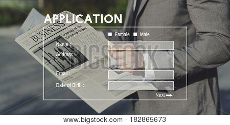 Businessman Application Information Banner Website