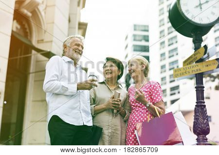 Gradient Color Style with Senior Adult Shopping Friendship Lifestyle
