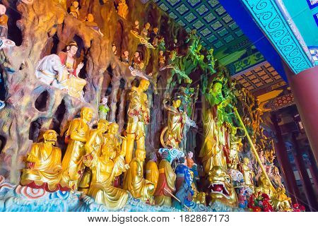 Liaoning, China - Aug 03 2015: Budda Statues At Guangyou Temple Scenic Area. A Famous Historic Site
