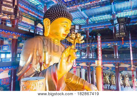 Liaoning, China - Aug 03 2015: Budda Statue At Guangyou Temple Scenic Area. A Famous Historic Site I