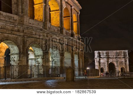 Arch of Constantine near the Colosseum at night