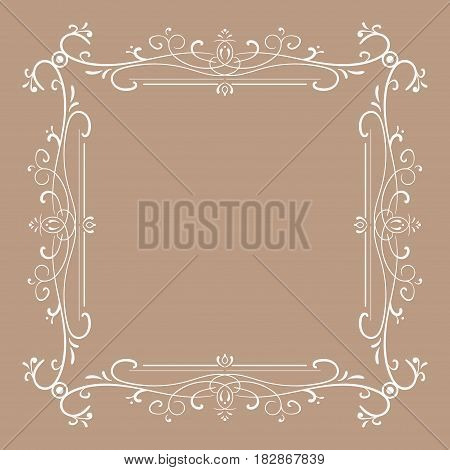 Vintage frame for monograms. Vector illustration on brown background