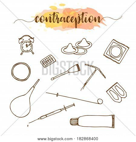 Contraception methods hand drawn set. Birth control vector illustration. Condom, oral contraceptives pills
