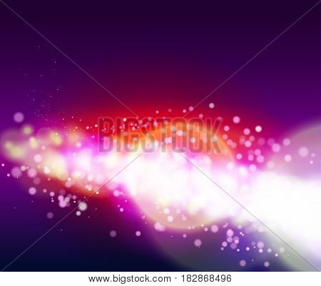 Abstract bokeh background with light glare and glowing particles. Vector illustration