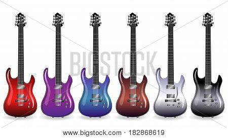 color variations of the electric guitar on a white background