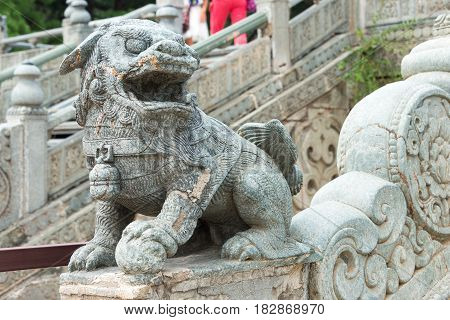 Liaoning, China - Jul 31 2015: Lion Statue At Zhaoling Tomb Of The Qing Dynasty(unesco World Heritag